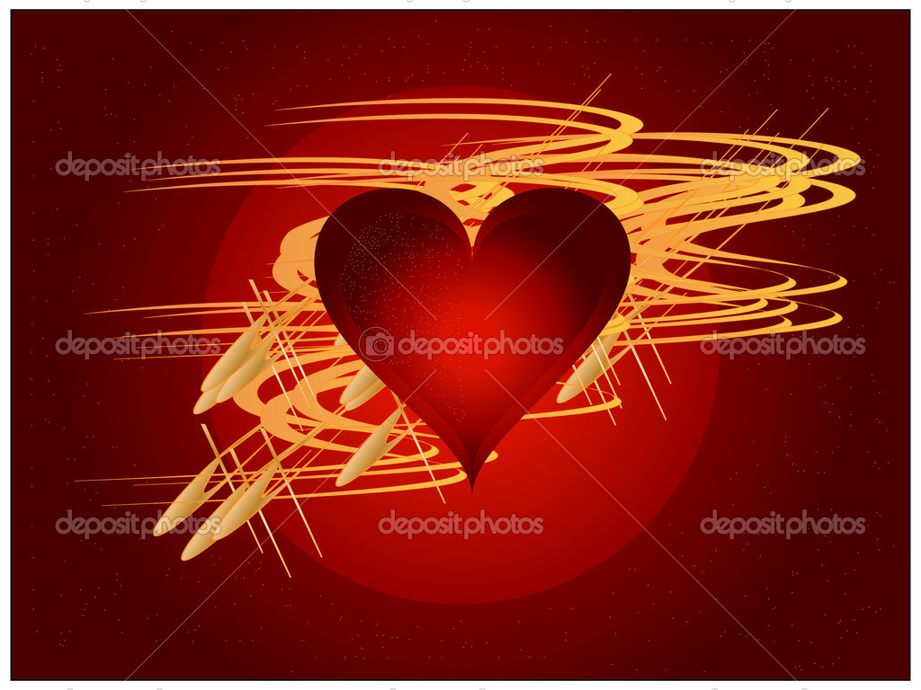 Shine golden heart  Stock Vector #3978945
