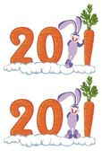 Icons with figures 2011 and a rabbit — Stock Vector