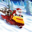 Royalty-Free Stock Photo: Santa Claus astride a snowmobile