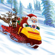 Santa Claus astride a snowmobile — Stock Photo