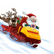 Stock Photo: SantClaus astride snowmobile