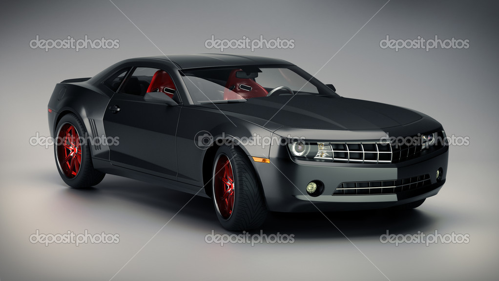 Black sport car on gray background — Stock Photo #3951051