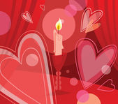 Candle and flying hearts — Stock Vector