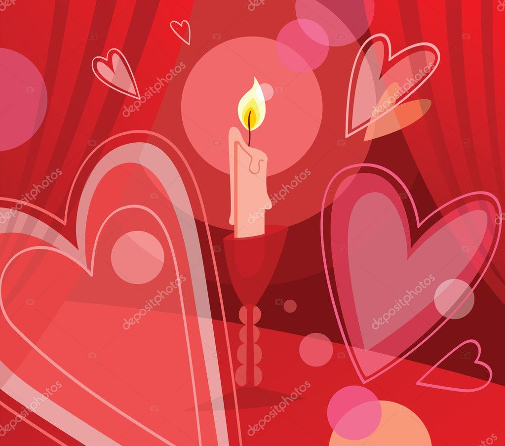 Lighted candle on the table, surrounded by romantic hearts. Vector illustration. — Imagen vectorial #4756509