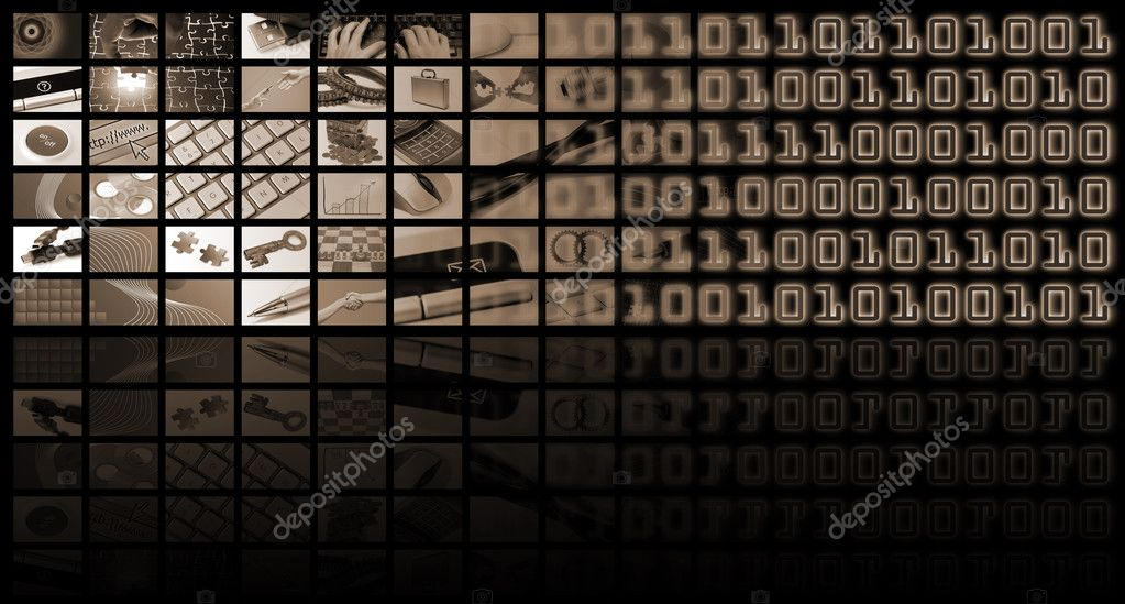 Business and technology composition with many images — Stock Photo #3995558