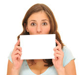 Beautiful woman holding blank card — Stockfoto