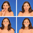 Stock Photo: Beautiful womchewing bubble gum