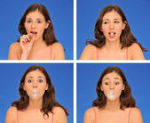 Bella donna masticare bubble gum — Foto Stock