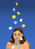 Beautiful woman and sticky notes — Stockfoto