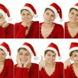 Woman in a Santa Claus hat — Stock Photo