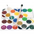 Stock Photo: Watercolor paints and brushes