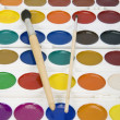 Watercolor paints and brushes — Stock Photo