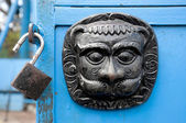 Original metal door decoration and lock — Stock Photo