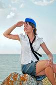 Attractive woman stewardess — Stock Photo