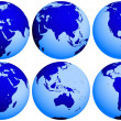 Earth globe views - Stock Photo