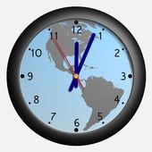 Clock with earth globe bkg — Stock Photo