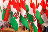 Hungarian flags — Stock Photo