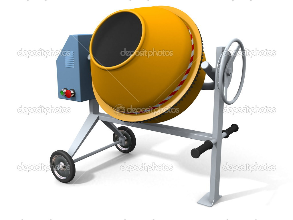 Concrete mixer on white (3d render, w clipping path) — Stock Photo #4017252