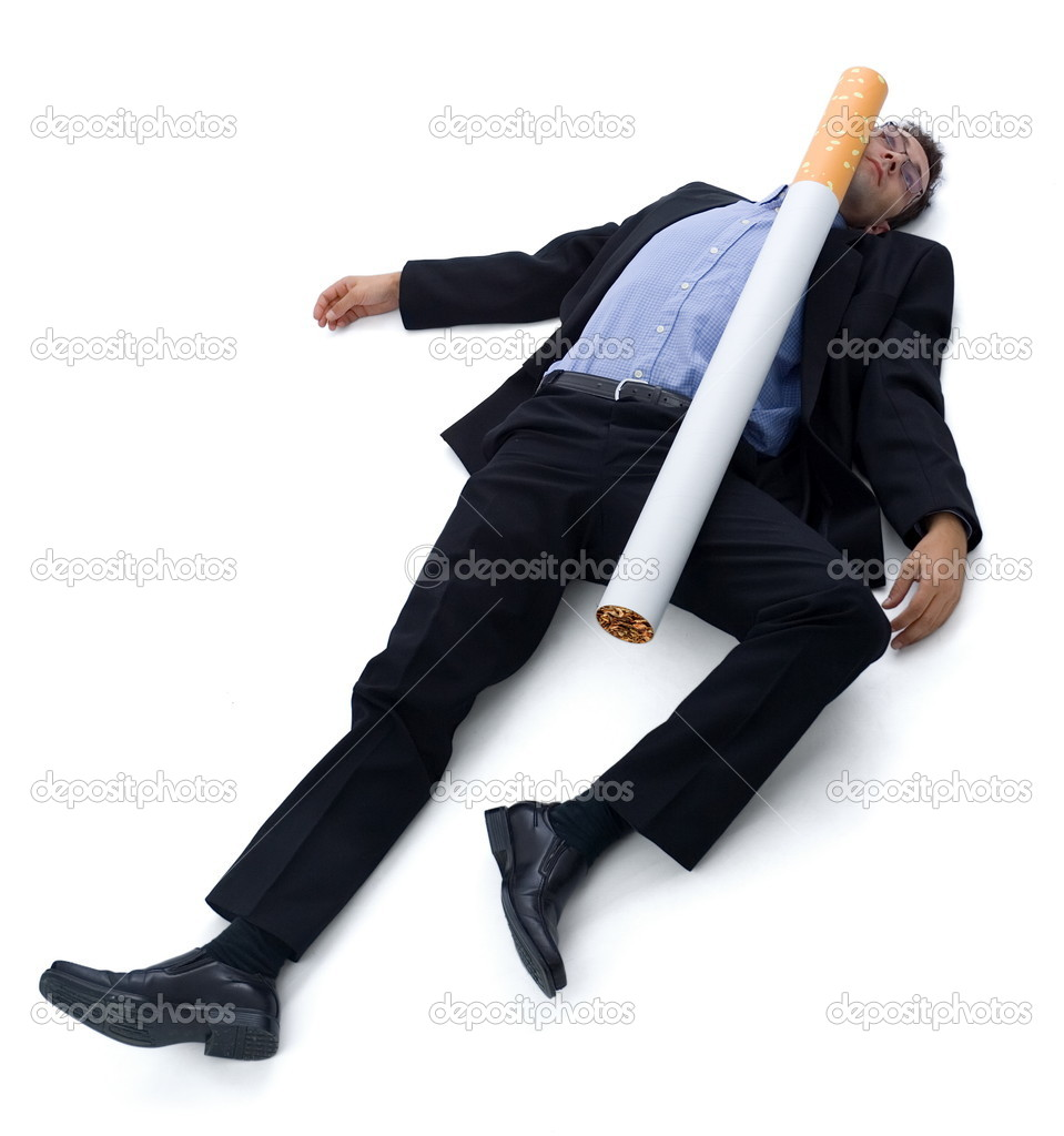 Smoking (cigarette) kills: a guy laying on the ground, he was hit by a big cigarette. Funny illustration of 'smoking kills'.  Stock Photo #4017725