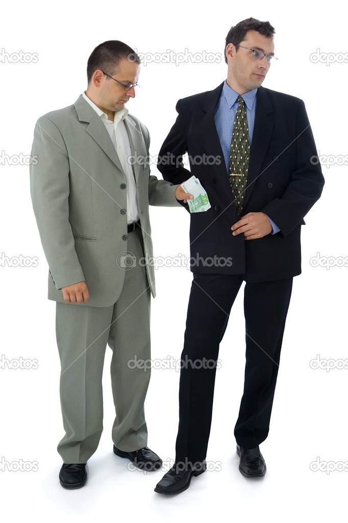 Businessman or politician holding his pocket for bribe — Stock Photo #4017728