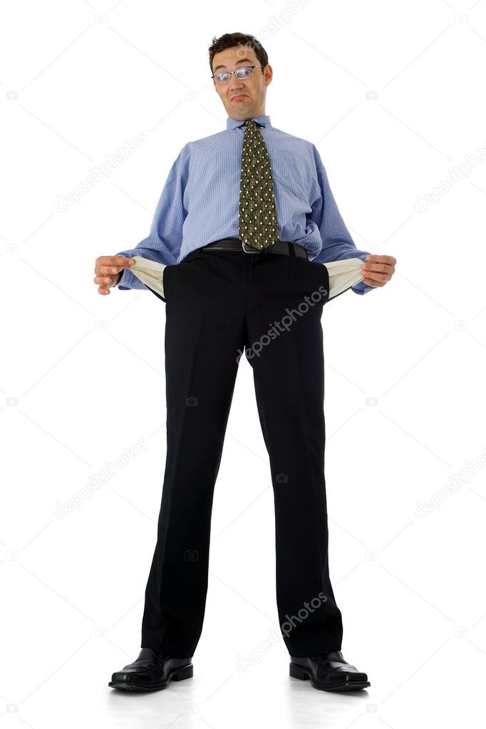 Poor businessman showing his empty pockets — Stock Photo #4017740