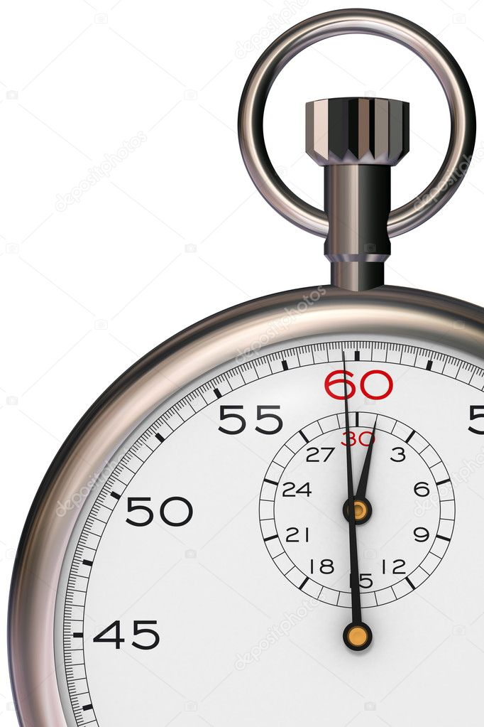 Stopwatch showing one minute elapsed time  Stock Photo #4017916