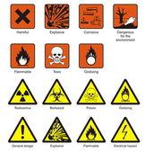 Věda laboratorní bezpečnostní značky — Stock vektor