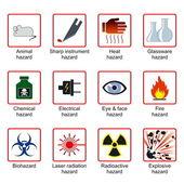 Símbolos de seguridad de laboratorio — Vector de stock