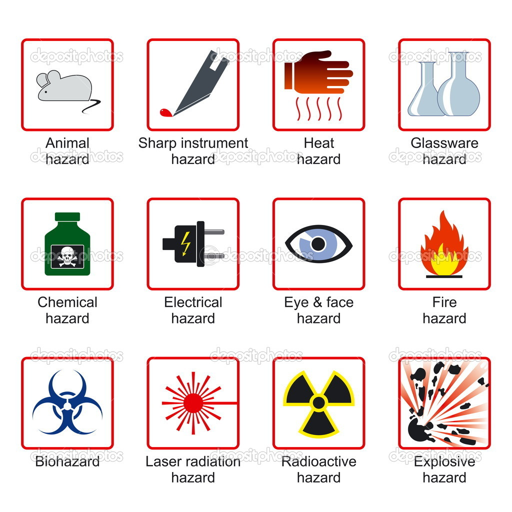 Laboratory safety symbols for warning labels (vector) — Stock Vector #4017688