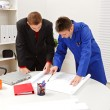 Stock Photo: Boss and employee surveying plans
