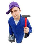 Técnico de estranho com o martelo — Foto Stock