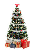 Christmas tree on white with presents — Stockfoto