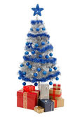 Christmas tree on white with presents — Stok fotoğraf