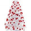 White Christmas tree with red decoration — Stockfoto