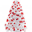 White Christmas tree with red decoration — Zdjęcie stockowe #4474893