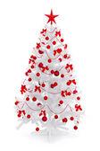 Kırmızı süslemeli beyaz noel ağacı — Stok fotoğraf