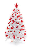 White Christmas tree with red decoration — Stok fotoğraf