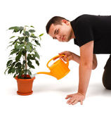 Young man watering flower — Stock Photo