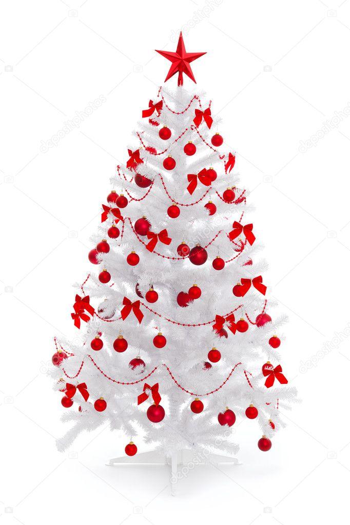 Sapin de no l blanc avec d coration rouge photographie - Sapin de noel decore en blanc ...