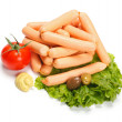 Weenie sausage with vegetables — Stock Photo