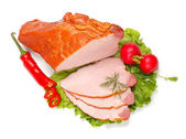 Boiled ham and vegetables — Stock Photo