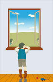 The boy looks out of the window — Stock Vector