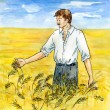 Stock Photo: Agriculturist on wheaten field
