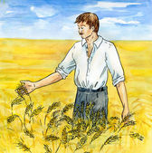 The agriculturist on a wheaten field — Stock Photo