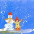 The snowman and the child — Stock Photo