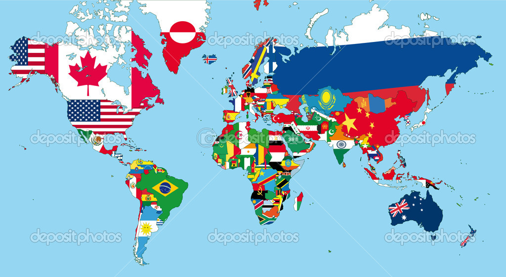 The world map with all states and their flags  Imagen vectorial #5262438