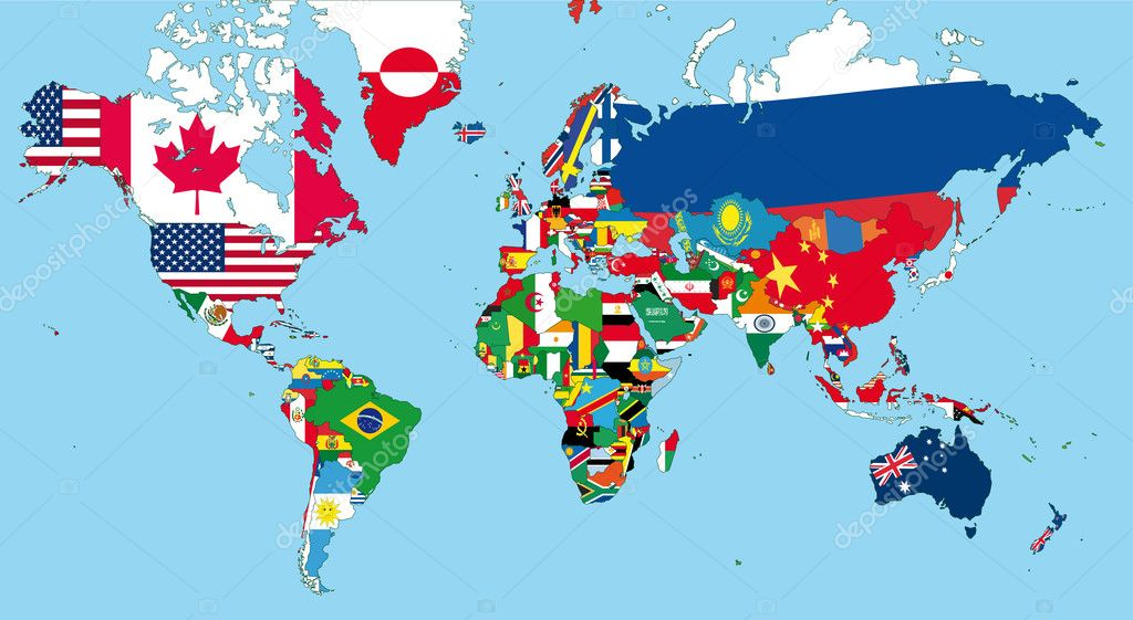 The world map with all states and their flags — Image vectorielle #5262438