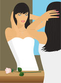 The bride at a mirror — Stock Vector