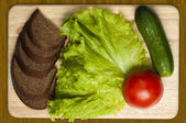 Bröd och grönsaker — Stockfoto