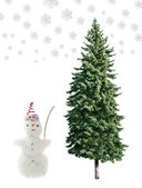 Snowman and pine — Stock Photo